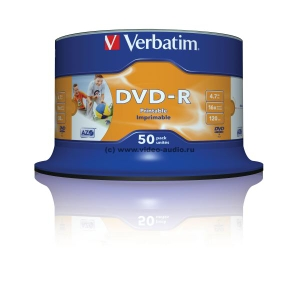 Verbatim DVD-R Disc Verbatim 4.7Gb 16x уп. 50 шт. на шпинделе, printable 43533