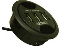Orient DE-370 USB2.0 HUB 3 port + Audio, встраиваемый в паз на столе