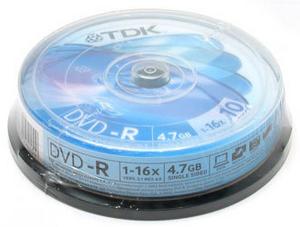 TDK DVD-R Disc TDK 4.7Gb 16x уп. 10 шт. на шпинделе