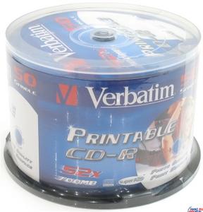 Verbatim CD-R Verbatim 700Mb 52x sp. уп.50 шт. на шпинделе, printable 43309