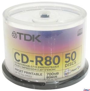 TDK CD-R TDK 700Mb 52x sp. уп.50 шт. на шпинделе, printable