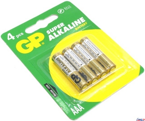 GP Ultra/Super 24AU/24A-4 (LR03) Size AAA, щелочной (alkaline) уп. 4 шт.