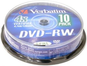 Verbatim DVD-RW Disc Verbatim 4.7Gb 4x уп. 10 шт. на шпинделе 43552
