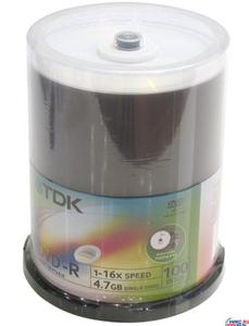 TDK DVD-R Disc TDK 4.7Gb 16x уп. 100 шт. на шпинделе, printable