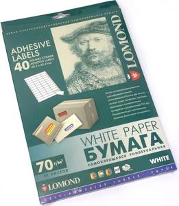 Lomond 2100195-70 (A4, 50 листов, 40 частей, 70 г/м2) бумага универсальная самоклеящаяся, белая