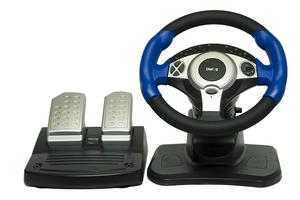 Руль Диалог GW-201 Street Racer 2 USB (Вибро, Рулевое колесо, педали, 12кн., регул.колонка-высота, наклон)