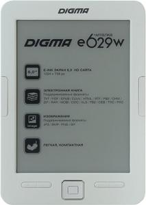 """Digma e629w White (6"""",mono,1024x758,4Gb,FB2/PDF/DJVU/RTF/CHM/EPUB/JPG/BMP, microSDHC,USB2.0)"""