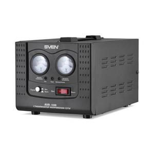 Sven Стабилизатор Sven AVR-500 (4 A, вх.100-280 В, вых.220 В±8% В, 350Вт, 1 розетка Euro)