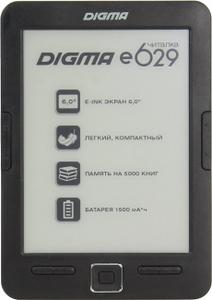 """Digma e629 Black (6"""",mono,1024x758,4Gb,FB2/PDF/DJVU/RTF/CHM/EPUB/JPG/BMP, microSDHC,USB2.0)"""