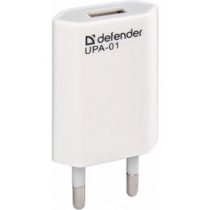 Defender Сетевой адаптер USB Defender UPA-01 83509 (Вх. AC170-220V, Вых. DC5.0V, 1000mA, USB)