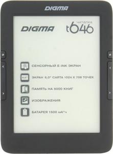 """Digma T646 Black (6"""", mono, 1024x758, 4Gb, FB2/PDF/DJVU/RTF/CHM/EPUB/JPG/BMP, microSDHC, USB2.0)"""