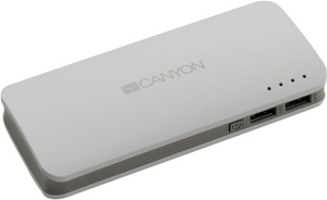 Canyon Внешний аккумулятор CANYON CNE-CPB100W White (2xUSB 2A, 10000mAh, Li-Ion)