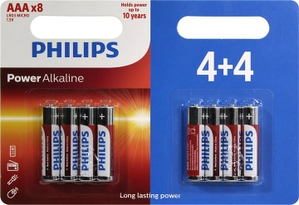 "PHILIPS Power Alkaline LR03P8BP / 10 Size""AAA"", 1.5V, щелочной (alkaline) уп. 8 шт"