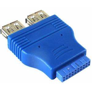 5bites UA-3004 Переходник 20pin - 2xUSB3.0 (горизонтальное расположение портов)