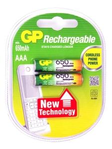 """GP Аккумулятор GP 65AAAHC-2DECRC2-2 (1.2V, 650mAh) NiMh, Size """"AAA"""" уп. 2 шт"""