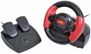Sven Руль SVEN Speedy (Vibration Feedback, рулевое колесо, педали, 10кн, 4 поз.мини-джойстик, USB)