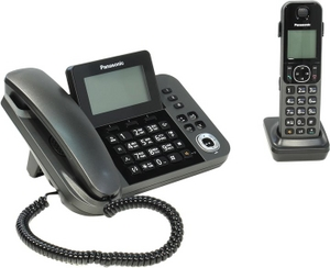 Panasonic KX-TGF320RUM Black проводной телефон+р/телефон (трубка с ЖК диспл.,DECT, А/Отв)