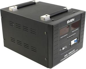 Sven Стабилизатор SVEN AVR-3000 LCD (20 А, вх.100-280 В, вых.220 В±8% В, 3000VA, клеммы для подключения)
