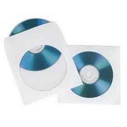 Hama Конверты Hama 49995 для CD/DVD на 1 диск, белые, бумажные с прозрачным окошком, уп. 100 шт