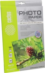 Cactus CS-MSA410020 (A4, 20 листов, 100 г/м2) бумага матовая самоклеящаяся