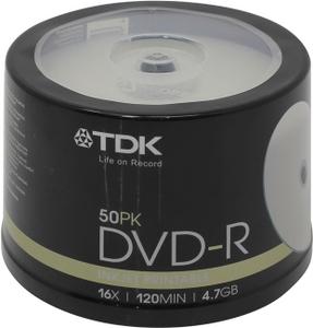 TDK DVD-R Disc TDK 4.7Gb 16x уп. 50 шт на шпинделе, printable