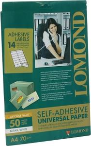 Lomond 2100085 (A4, 50 листов, 14 частей 105x41мм, 70 г/м2) White, бумага универсальная самоклеящаяся