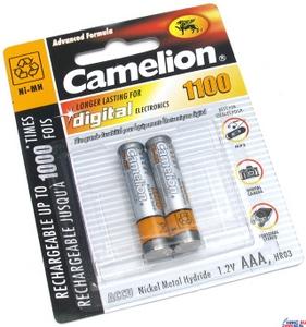 """Аккумулятор Camelion NH-AAA1100BP2 (1.2V, 1100mAh) NiMH, Size """"AAA"""" уп. 2 шт"""