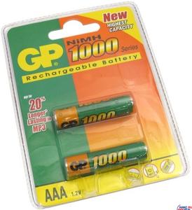 """GP Аккумулятор GP 100AAAHC-2 (1.2V, 970mAh) NiMh, Size """"AAA"""" уп. 2 шт."""