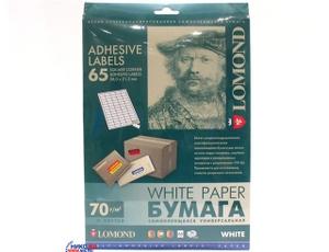 Lomond 2100215-70 (A4, 50 листов, 65 частей, 70 г/м2) бумага универсальная самоклеящаяся, белая